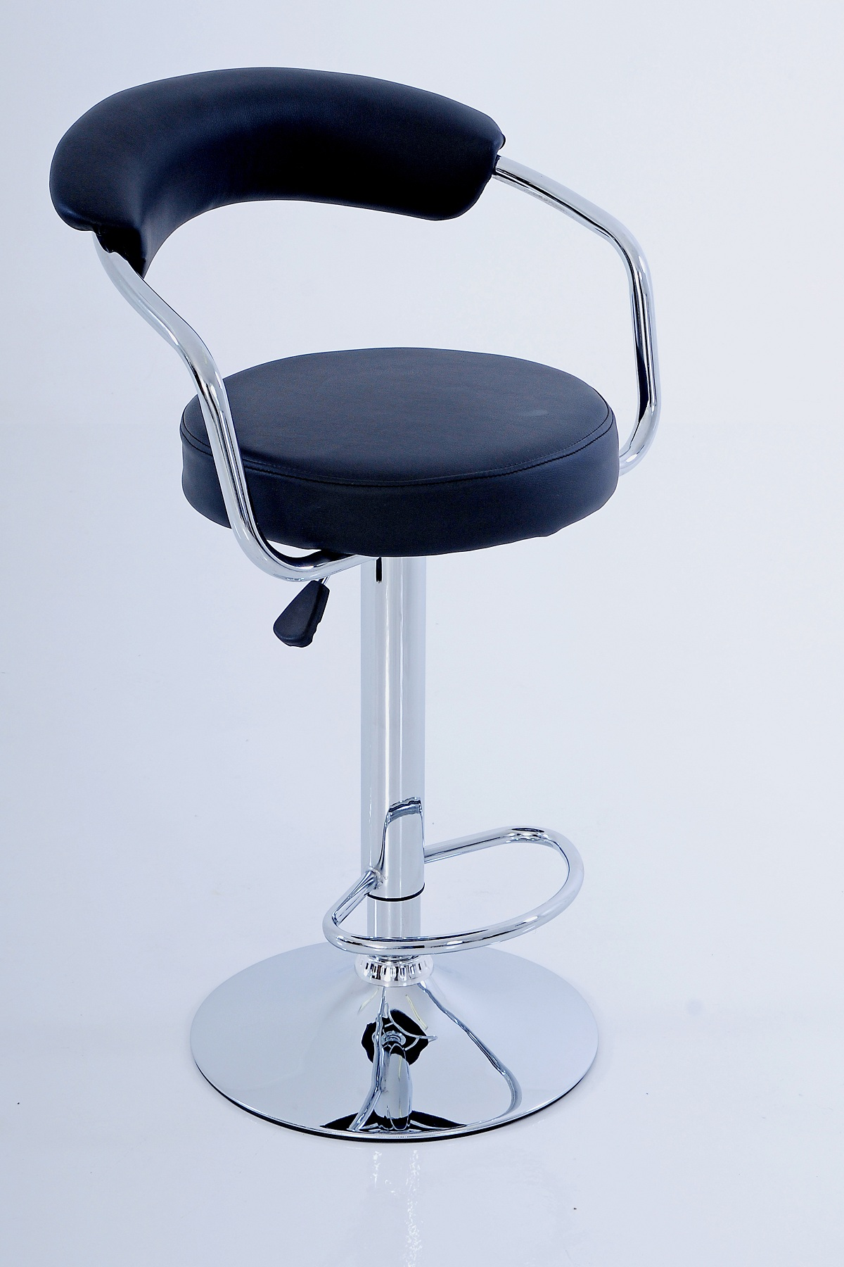 Round back barstool black pleather chrome base and footring