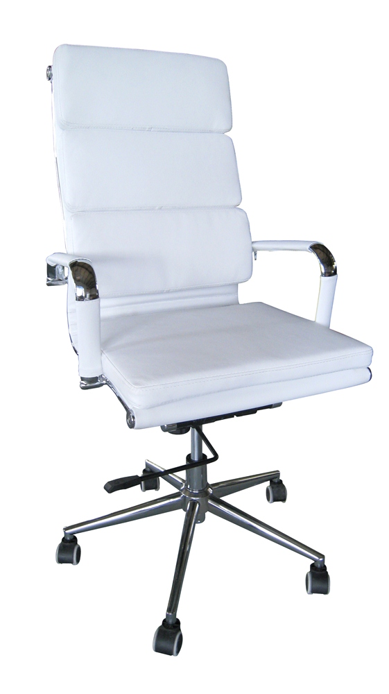 Classic Eames Reproduction High Back Tortion- White Cushion Pleather