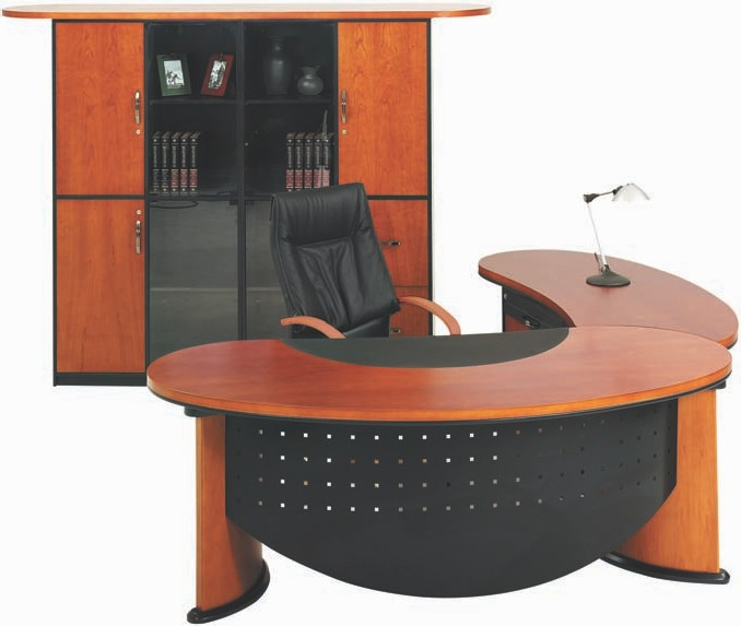 Desk with curved perforated modesty panel. Flush fitting telephone companion top Image