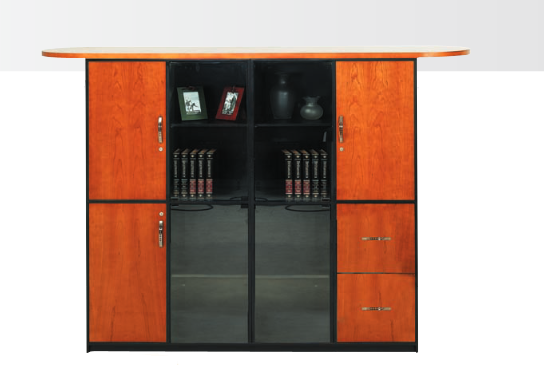 Wall unit comprising of 3 solid doors, 1x 2 drawer filing cabinet and 4 glass doors Image